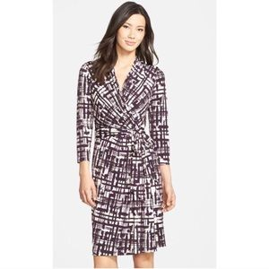 Eliza J Purple Print Faux-Wrap Dress